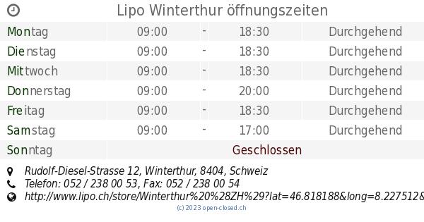 Lipo Winterthur öffnungszeiten Rudolf Diesel Strasse 12