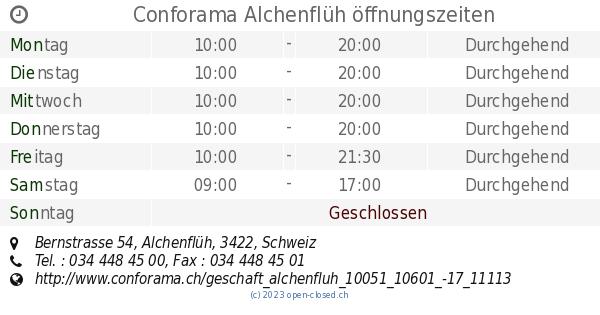 Conforama Alchenflüh öffnungszeiten Bernstrasse 54