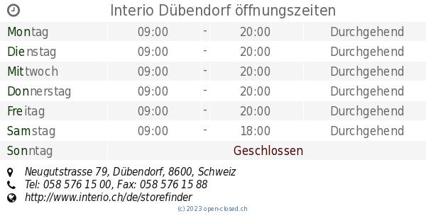Interio Dübendorf öffnungszeiten Neugutstrasse 79