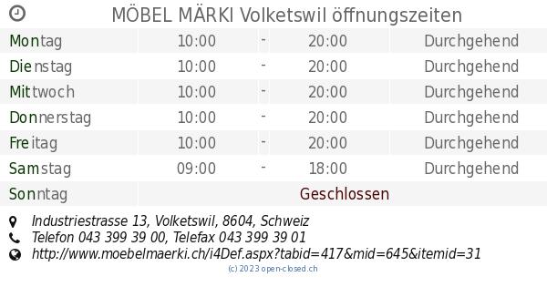 Möbel Märki Volketswil öffnungszeiten Industriestrasse 13